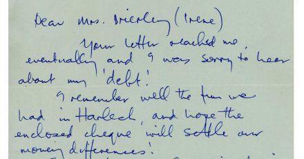 Ein Brief von Paul McCartney an Irene Brierley, in dem er seine langjährige «Schuld» aus der Zeit bevor er Weltruhm erlangte begleicht.
