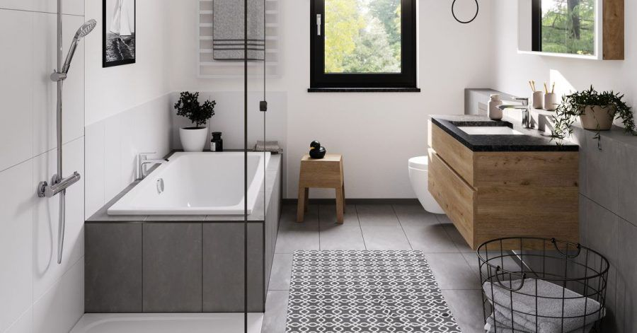 Auch auf wenig Raum lassen sich Badezimmer mit Spa-Gefühl gestalten. Dazu tragen Accessoires und Wandbilder bei - wie hier zum Beispiel beim Anbieter Kaldewei zu sehen.