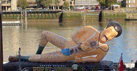 Überlebensgroß:Werbung für «Borat 2» auf der Themse.