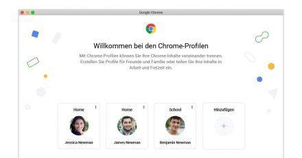 Für jeden die richtige Einstellung: So soll die Auswahlseite für die kommenden Benutzerprofile im Chrome-Browser aussehen.