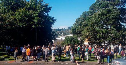 In der neuseeländischen Stadt Whangarei versammeln sich Menschen aus Angst vor einem Tsunami auf einer Anhöhe.