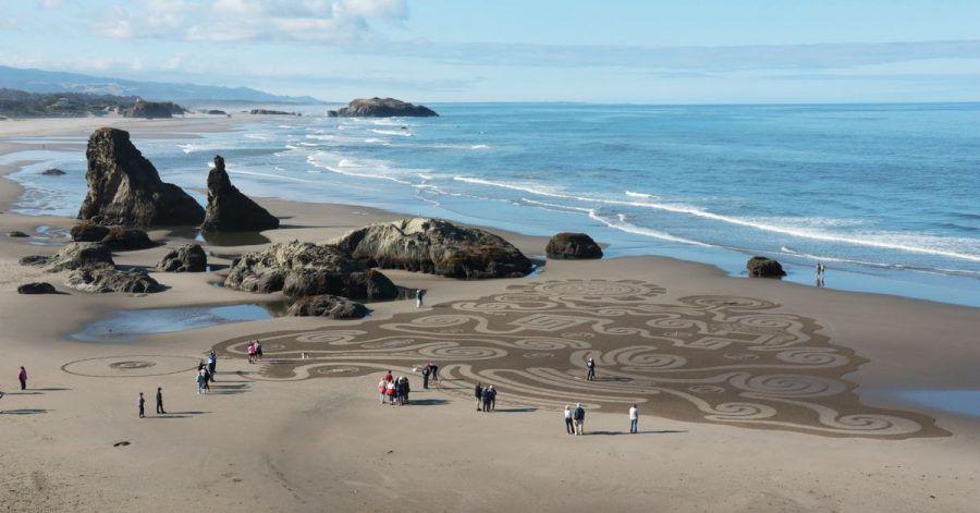 Die Sand Circles am Face Rock State Park sind vergängliche Kunst - der Ozean verwischt die Spuren im Sand.
