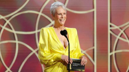 Eine strahlende Jamie Lee Curtis bei der Golden-Globes-Verleihung 2021. (cos/spot)
