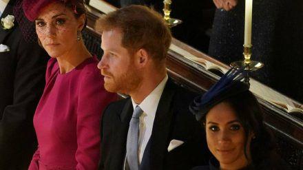 Herzogin Kate, Prinz Harry und Herzogin Meghan im Jahr 2018 (wue/spot)