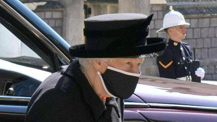 Die Queen auf der Beerdigung ihres Ehemannes Prinz Philip am 17. April. (hub/spot)
