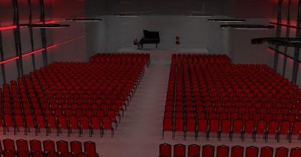 Darstellung eines Konzertsaals im geplanten mobilen «Fürst von Metternich Konzert-Kubus». Das Rheingau Musik Festival will im Corona-Sommer 2021 einen der größten mobilen Konzertsäle Europas aufbauen.