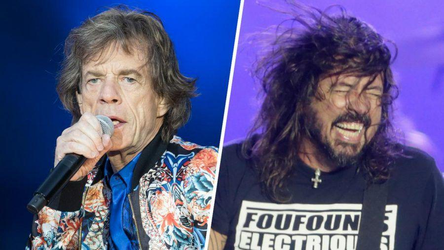 Mick Jagger (li.) und Dave Grohl rocken gemeinsam. (cos/spot)