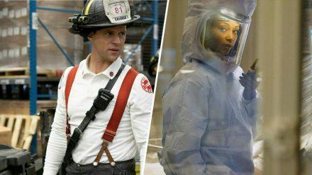 """Jesse Spencer als Matthew Casey in """"Chicago Fire"""" (li.) und Yaya DeCosta als April Sexton in """"Chicago Med"""". (stk/spot)"""