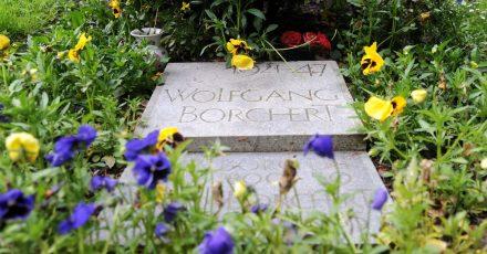 Blumen liegen auf dem Grab des Schriftstellers Wolfgang Borchert auf dem Friedhof Ohlsdorf in Hamburg.