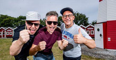 Die Hip-Hop-Band Fettes Brot: Boris Lauterbach alias König Boris (l-r), Martin Vandreier alias Doktor Renz und Björn Warns alias Björn Beton.
