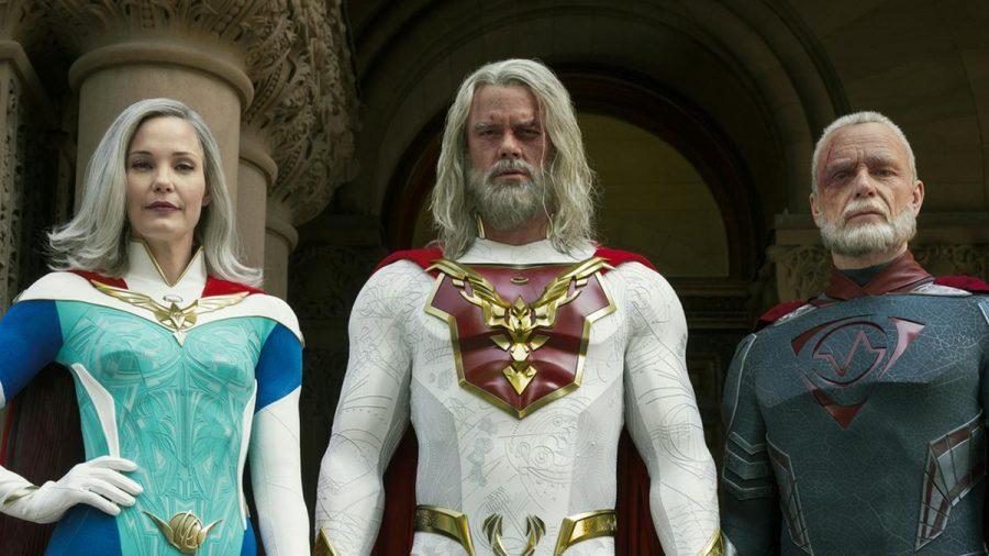 "Superhelden oder Super-Cringe? Josh Duhamel (Mitte) in der neuen Netflix-Serie ""Jupiter's Legacy"". (stk/spot)"