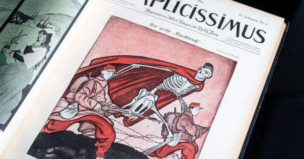 """Karikatur von Olaf Gulbransson mit dem Titel """"Der große Durchbruch"""" im Mai 1917."""