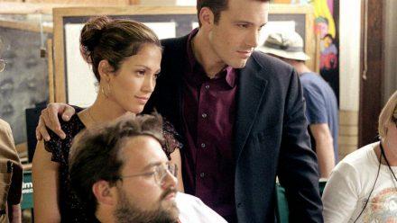 "Kevin Smith, Jennifer Lopez und Ben Affleck am Set des gemeinsamen Films ""Jersey Girl"" (stk/spot)"