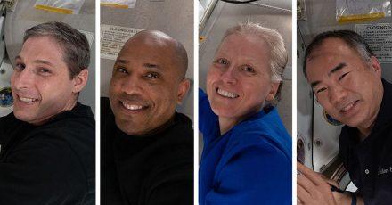 Die US-Astronauten Michael Hopkins, Victor Glover, Shannon Walker und ihr japanischer Kollege Soichi Noguchi (von links) haben die ISS verlassen.