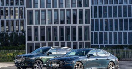 Neues Duo in der Luxusdomäne: Mit den Modellen GV80 und G80 (r.) will Genesis nun auch in Europa in der oberen Mittelklasse wildern.