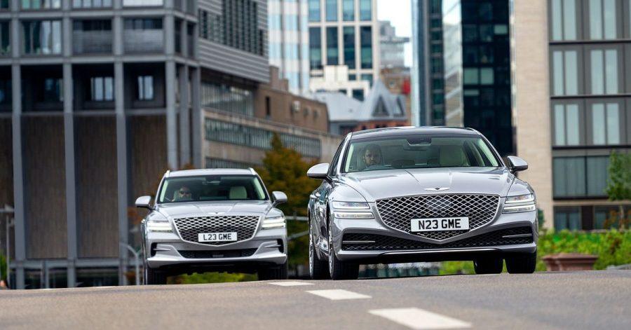 Doppelschlag: Mit dem SUV GV80 und der Limousinie G80 (r.) will sich Genesis als luxuriöse Schwestermarke von Hyundai und Kia auch in Europa positionieren.