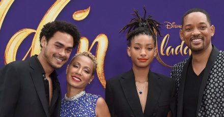 Jada Pinkett Smith (2.v.l) mit ihrem Mann Will und den Kindern Trey und Willow.
