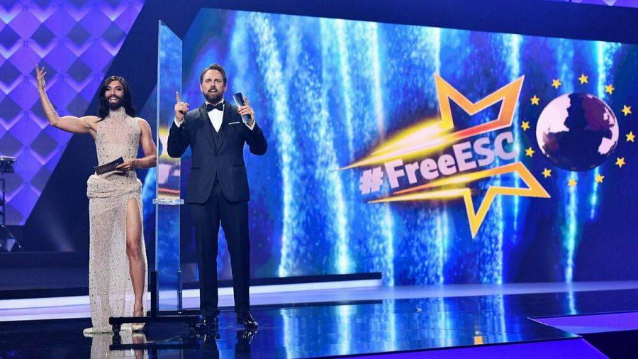 "Conchita Wurst und Steven Gätjen moderieren erneut den ""Free ESC"". (jom/spot)"