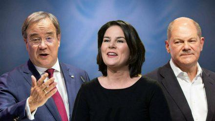 Die Politiker Annalena Baerbock, Armin Laschet (l.) und Olaf Scholz treten in mehreren Triellen gegeneinander an. (ili/spot)