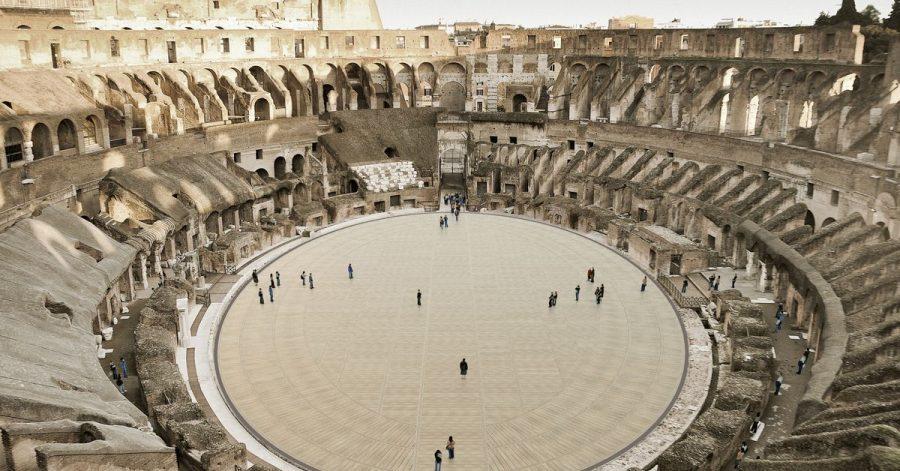 Das computergenerierte Bild zeigt den geplanten Holzboden im Kolosseum.