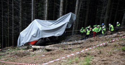 Eine Seilbahngondel ist vor wenigen Wochen am Monte Mottarone in Italien abgestürzt.