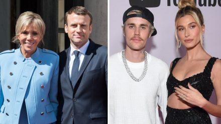 Das französische Präsidentenpaar Emmanuel und Brigitte Macron (l.) hat sich mit Musiker Justin Bieber und Ehefrau Hailey getroffen.  (ili/spot)