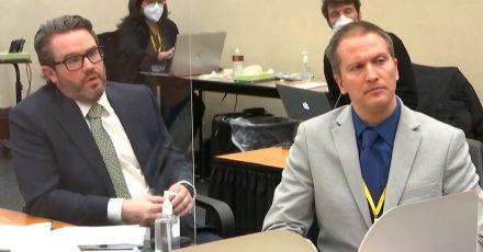 Verteidiger Eric Nelson fordert für seinen Mandanten Derek Chauvin (r) eine Bewährungsstrafe.