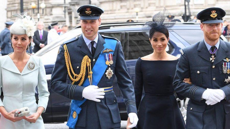 Die Söhne von Prinzessin Diana mit ihren Ehefrauen (v.l.): Herzogin Kate und Prinz William, Herzogin Meghan und Prinz Harry. (ili/spot)