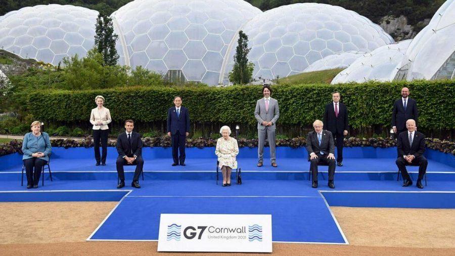 Die G7-Staatschefs beim Treffen mit Queen Elizabeth II. (rto/spot)