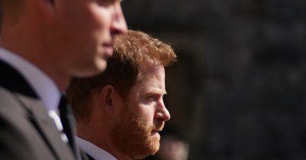 Prinz William (l) und sein Bruder Prinz Harry im April bei der Trauerfeier für Prinz Philip.