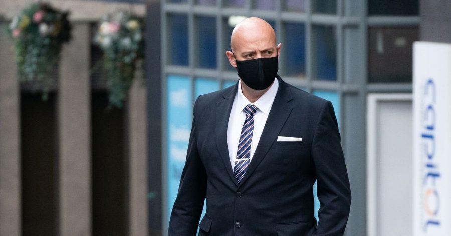 Der angeklagte Polizist der West Mercia Police  auf dem Weg ins Gericht in Birmingham.