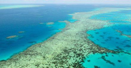 Die Luftaufnahme zeigt das Great Barrier Reef in Australien am 2. Dezember 2017.
