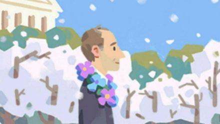 Mit diesem Doodle erinnert Google an den LGBT-Aktivisten Franklin Kameny. (ili/spot)