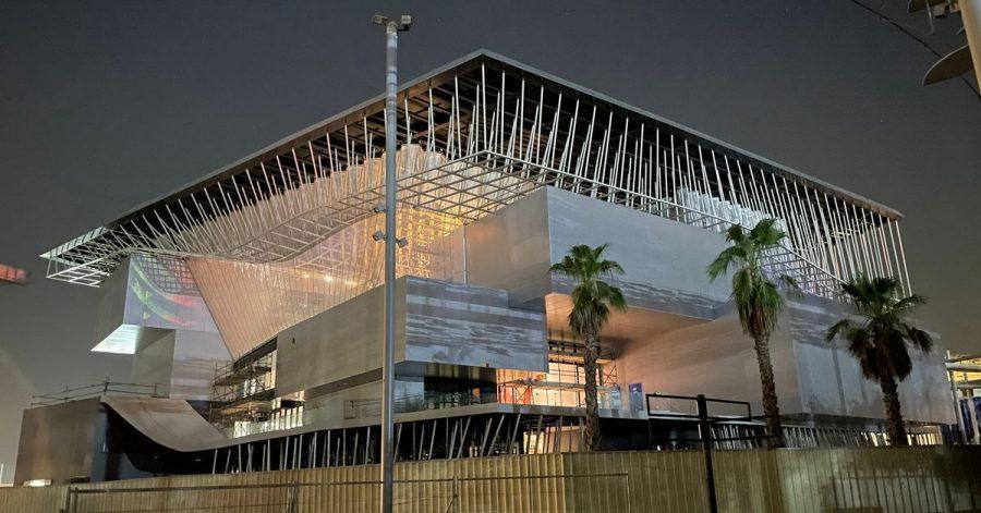 Der deutsche Pavillon im Aufbau bei der Expo 2020.