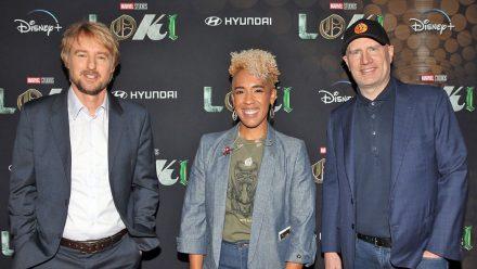 Owen Wilson, Angélique Roché, und Regisseur Kevin Feige.
