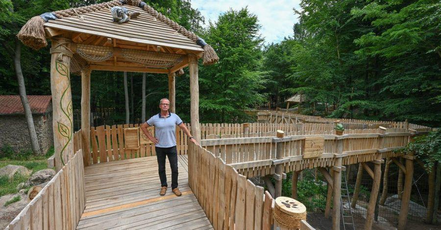 Bernd Hensch, Direktor vom Zoo Eberswalde, steht auf dem neuen hölzernen Erlebnispfad hoch über den Tiergehegen.