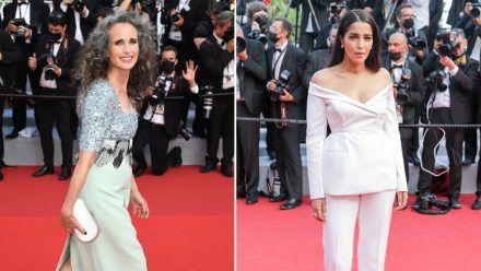 Andie MacDowell und Leila Bekhti legten einen eleganten Auftritt in Cannes hin. (kms/spot)