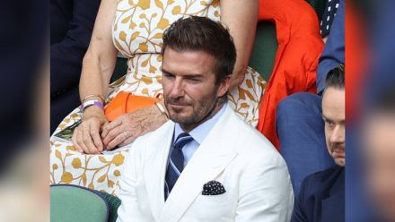 David Beckham auf der Tribüne in Wimbledon.  (ili/spot)