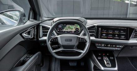Angeknabberter Alleskönner? Nein, Audi hat bei diesem Lenkrad aus dem Q4 E-Tron auch aus optischen Gründen oben etwas «abgefeilt», untergebracht sind dennoch rund 18 Funktionen.