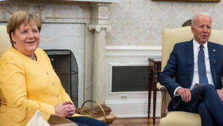 Angela Merkel während ihres Treffens mit Joe Biden im Weißen Haus (wue/spot)