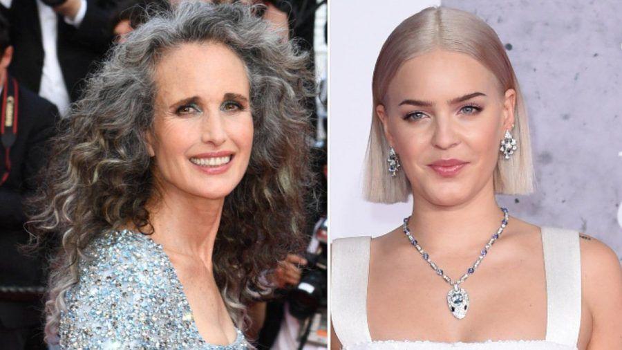 Der Granny-Hair-Look unterschiedlich interpretiert: Andie MacDowell (li.) und Anne-Marie (eee/spot)
