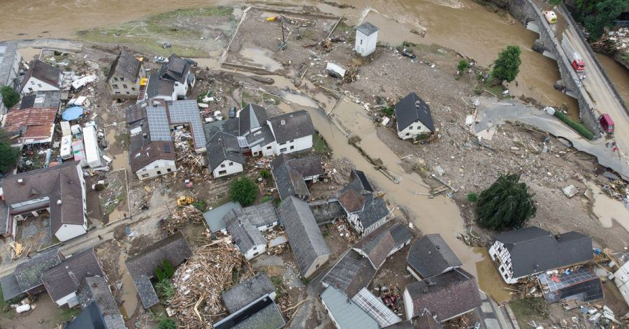 Weitgehend zerstört und überflutet ist das Dorf Schuld im Kreis Ahrweiler.