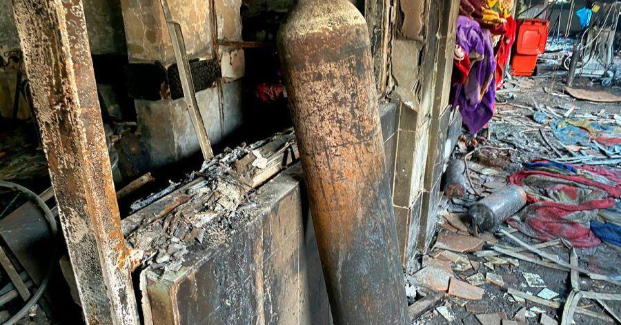 Der Brand in Bagdad im April wurde ebenso durch die Explosion einer Sauerstoffflasche ausgelöst.