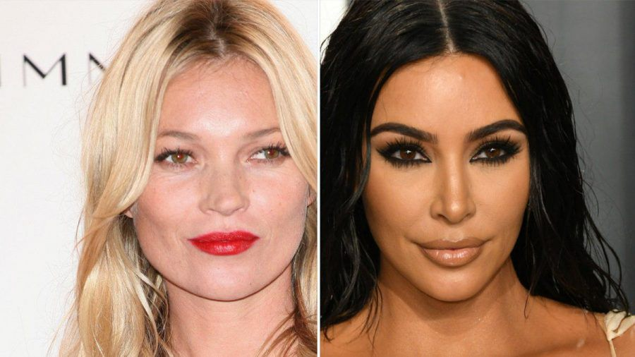 Kate Moss (l.) macht für Kim Kardashians Unterwäsche-Label Werbung. (jom/spot)