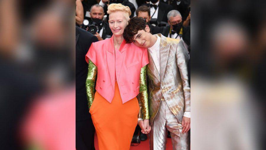 """Timothée Chalamet und Tilda Swinton bei der Cannes-Premiere von """"The French Dispatch"""". (hub/spot)"""