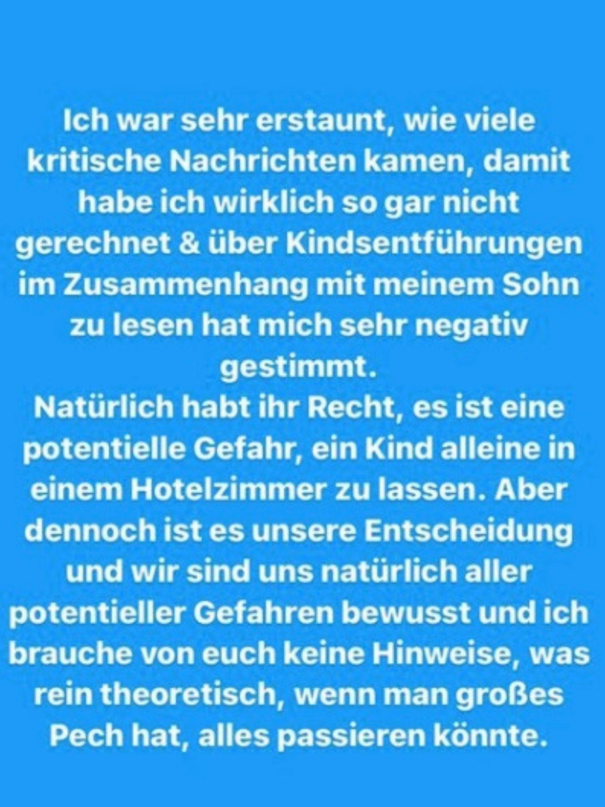 Marie Nasemann: Shitstorm weil sie kleinen Sohn allein im Hotelzimmer ließ