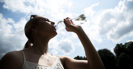 Mindestens 1,5 Liter Flüssigkeit sollte man bei sommerlichen Temperaturen täglich trinken - am besten Wasser, ungesüßte Tees oder Schorlen.