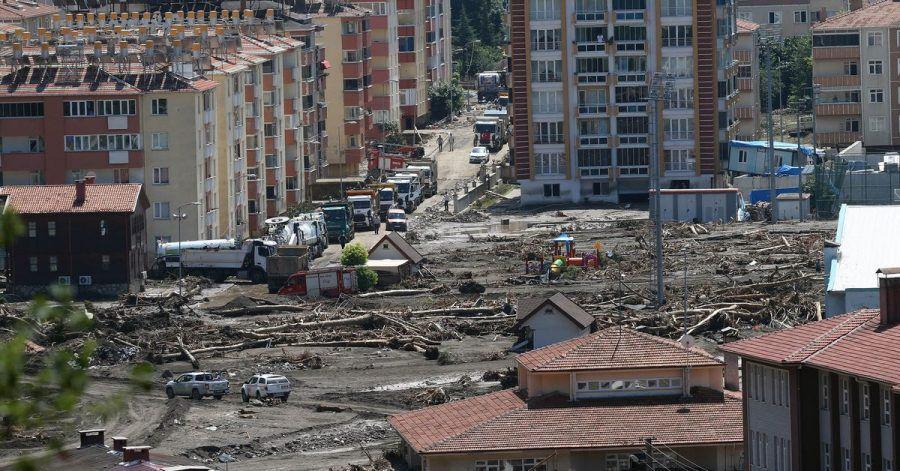 Ein von den Überschwemmungen betroffene Gebiet.