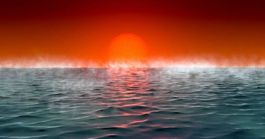 """Künstlerische Darstellung eines Exoplaneten """"Hycean"""", - benannt nach hydrogen (Wasserstoff) und ocean (Ozean)."""