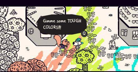 Zu Beginn von «Chicory: A Clorful Tale» ist die Spielwelt noch kaum bunt. Das können Spielerinnen und Spieler mit dem magischen Pinsel schnell ändern.